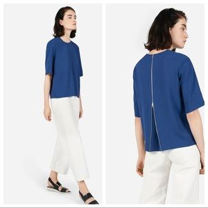 Everlane back zip blouse top sz 12 blue